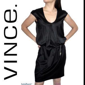 VINCE sleek black silk cocktail dress sz XS!